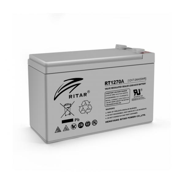Аккумуляторная батарея AGM RITAR RT1270A, Gray Case, 12V 7.0Ah ( 151 х 65 х 94 (100)