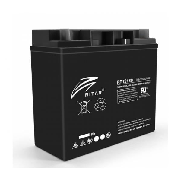 Аккумуляторная батарея AGM RITAR RT12180B, Black Case, 12V 18.0Ah (181х77х167 )